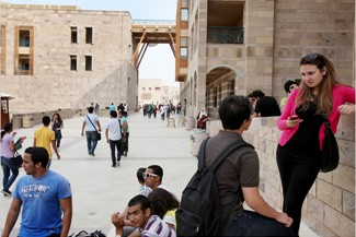 Students talked during a break in classes at the American University of Cairo in New Cairo, Egypt.